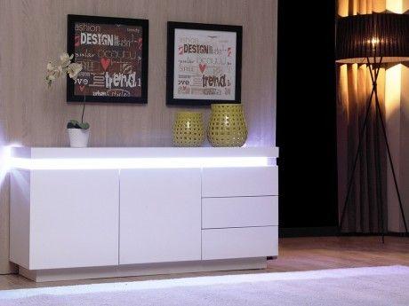 Vente-unique Buffet bas Emerson Ii - Leds - 2 portes & 3 tiroirs - Mdf laqué blanc