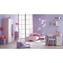 Modern Design - Lit + chevet + armoire + bureau + commode
