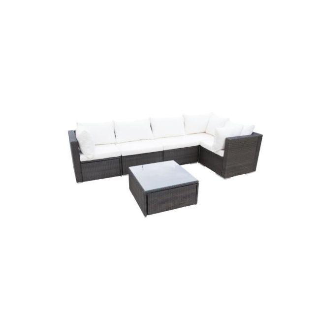 Salon De Jardin - Ensemble Table Chaise Fauteuil De Jardin Salsa Salon de  jardin en résine tressée - un canapé modulable de 5 unités avec une table  ...
