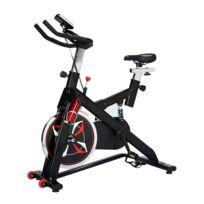 HOMCOM - Vélo d'appartement cardio vélo biking écran multifonction selle et guidon réglables fonction cardio noir et rouge neuf 10