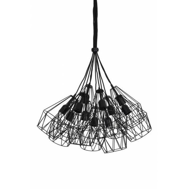 L'HÉRITIER Du Temps Luminaires Multiples à Suspendre Kobaka Eclairage Moderne 11 Suspensions Géométriques en Métal Patiné Noir 20x20x33cm