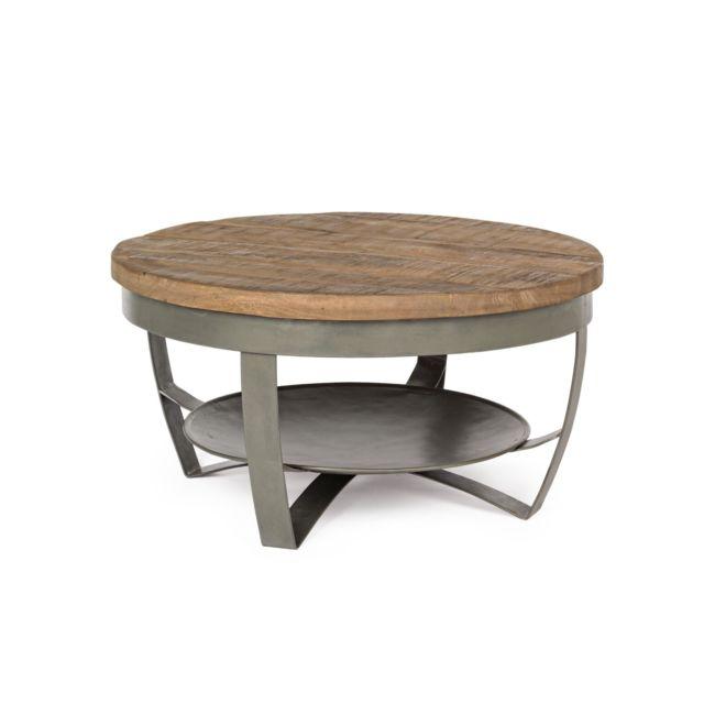 HELLIN Table basse ronde en bois et métal - COSTALE