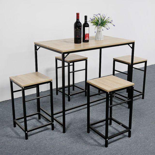 Jeobest Set De 1 Table 4 Tabourets De Bar Avec Repose Pieds Table Haute Cuisine Pas Cher Achat Vente Tables A Manger Rueducommerce