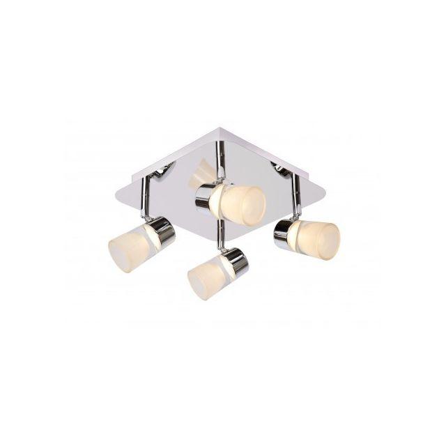 lucide spot plafond salle de bains xanto led 4x5w 3000k ip21 chrome pas cher achat. Black Bedroom Furniture Sets. Home Design Ideas