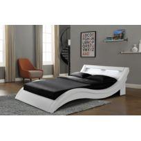 Concept Usine - Lit Paddington 140x190 cm - Cadre de lit Led en simili Blanc