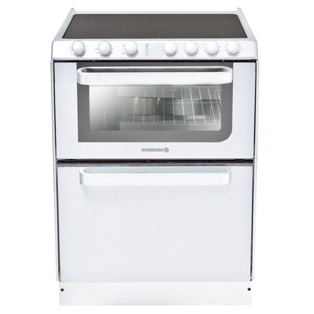 ROSIERES cuisinière vitrocéramique 4 feux combiné lave-vaisselle 6c - trv60rb/u