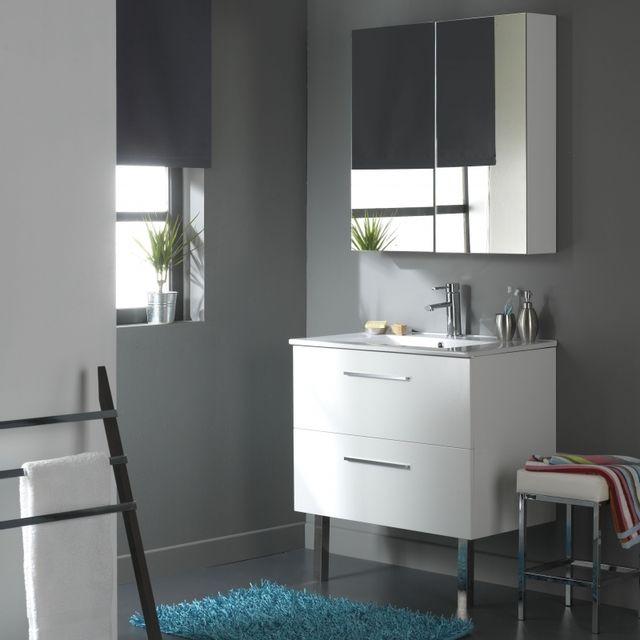 Planetebain soldes meuble de salle de bain suspendre 80 cm 2 tiroirs blanc laqu blanc - Soldes meubles salle de bain ...