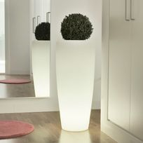 New Garden - Pot de fleur lumineux en polyéthylène blanc Hauteur 70cm Bambu