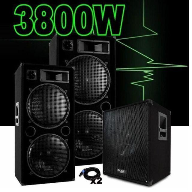 Ibiza Sound Pack sono dj amplifié 3800w avec 2 enceintes 1500w - caisson cube1512