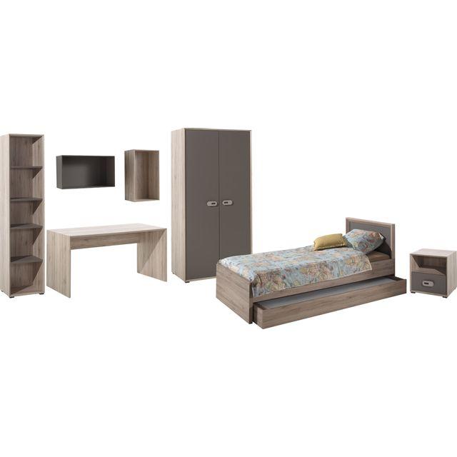 Comforium Ensemble complet 7 pièces pour chambre moderne avec lit 90x200 cm chevet, armoire 2 portes, bureau, bibliothèque, lot de