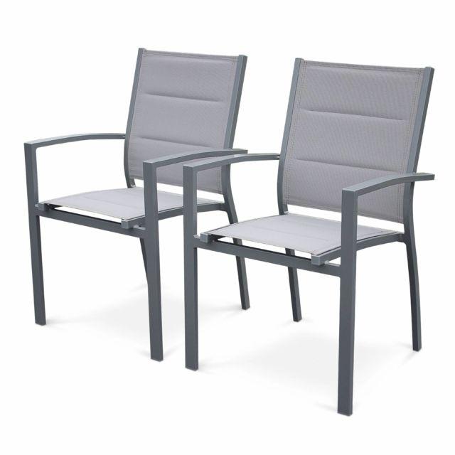 ALICE'S GARDEN Lot de 2 fauteuils Chicago / Philadelphie en aluminium et textilène gris clair empilables