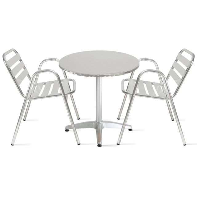 OVIALA - Table de jardin ronde en aluminium 2 places - Gris - pas ...