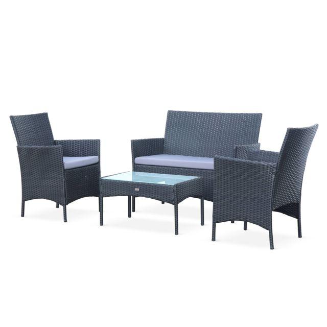 ALICE'S GARDEN Salon de jardin en résine tressée - Moltès - Noir, Coussins gris - 4 places - 1 canapé, 2 fauteuils, une table basse