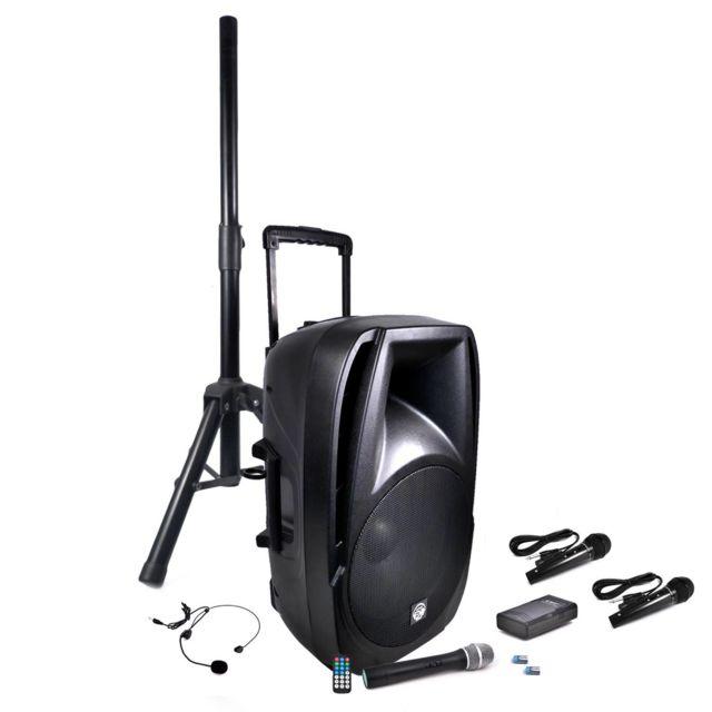 Mydj Pack Enceinte Mobile Transit15-VHF-BT 900W + 4 Micros + Pied