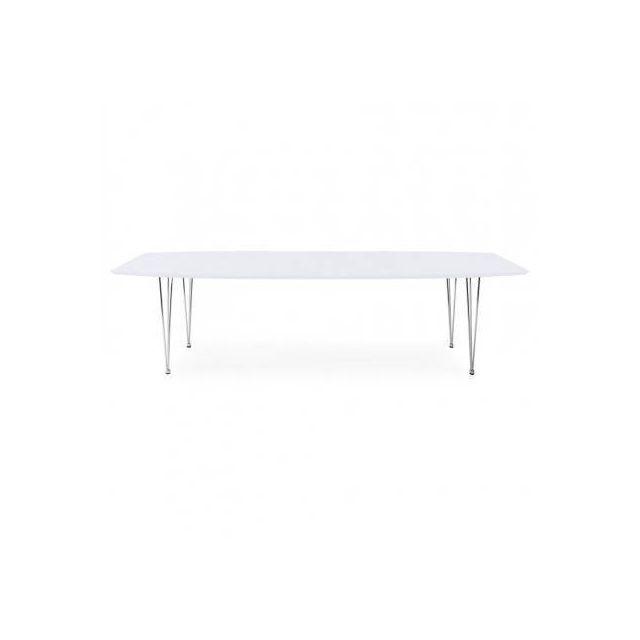 TECHNEB Table design avec rallonges LOANA en bois et métal chromé 170/270cmX100cmX74cm, blanc