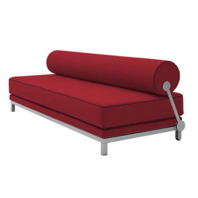 Inside 75 Canapé lit convertible design Sleep en tissu laine bordeaux structure aluminium Softline