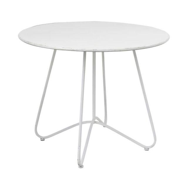 Tousmesmeubles Table de repas ronde Métal blanc - Eklo