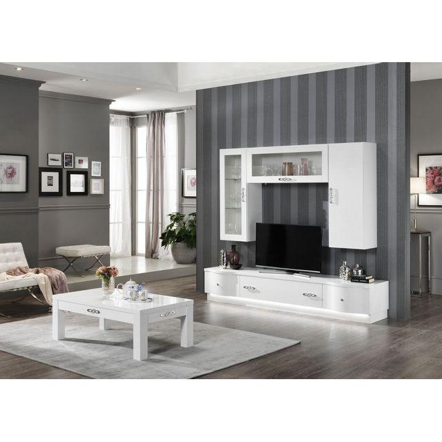 Comforium Ensemble salon design complet avec vitrines murales et meuble Tv éclairé coloris blanc laqué