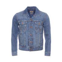 Wrangler - Blouson en jean en pur coton bleu légèrement délavé