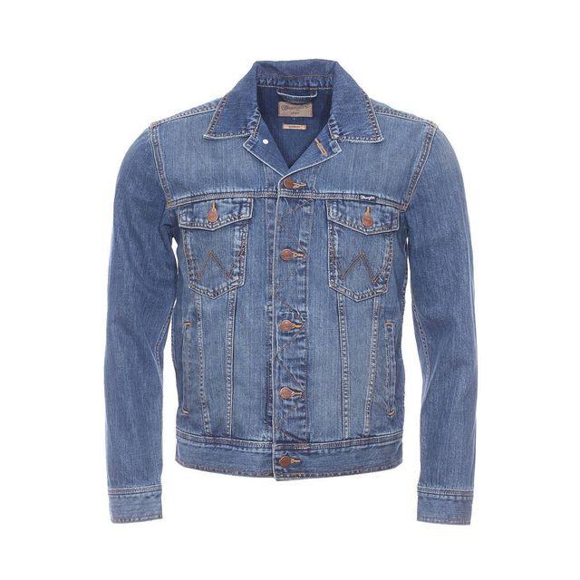 WRANGLER - Blouson en jean en pur coton bleu légèrement délavé - pas cher  Achat   Vente Blouson homme - RueDuCommerce 4c2653fd7721