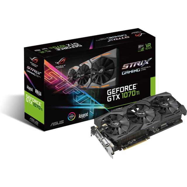 ASUS GeForce GTX 1070 TI ROG STRIX A - 8Go GAMING Cette nouvelle carte graphique dotée des dernières technologies NVIDIA vous permettra d'atteindre des sommets de performances face à la demande en puissance de calcul 3D qu&rsquo