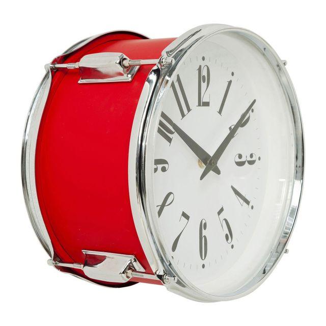 Karedesign Horloge murale Drum rouge 28cm Kare Design