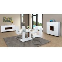 Tables manger achat tables manger pas cher rue du for Table extensible blanche laquee brillante 4 8 couverts glosse