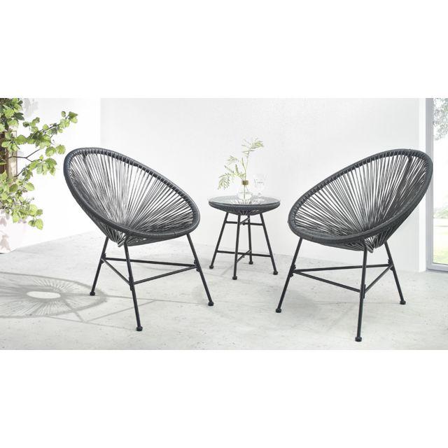 BOBOCHIC - Pinto - Salon de jardin 2 places - design oeuf - acier et ...