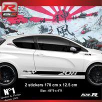 Run-R Stickers - 2 stickers bas de caisse pour Peugeot 208 - Couleur Noir - Adnauto