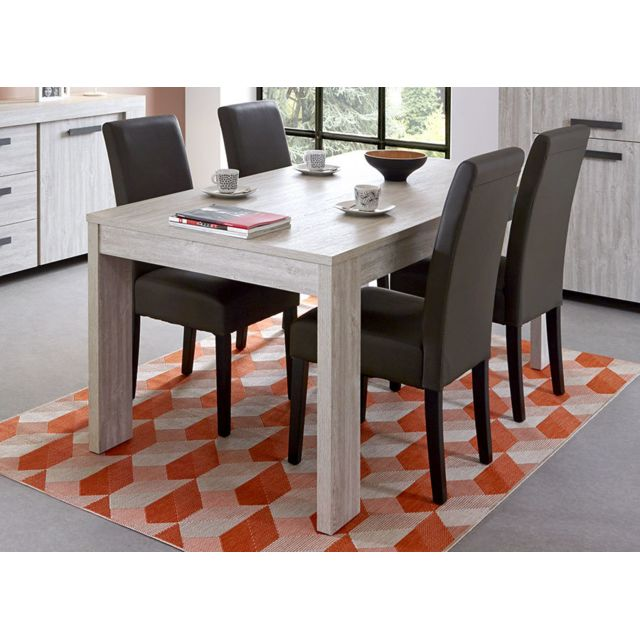 Sofamobili Table à manger couleur chêne gris contemporaine Coja 2