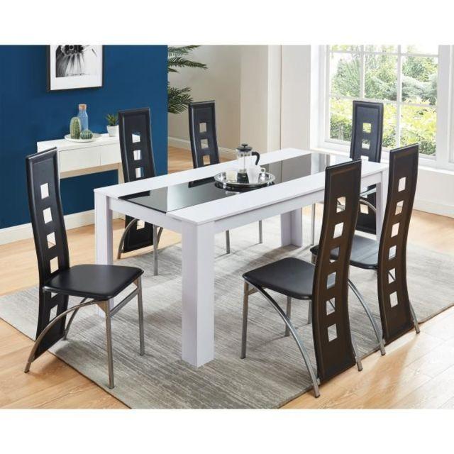 TABLE A MANGER AVEC CHAISES DAMIA Ensemble table a manger 6 a 8 personnes + 6 chaises contemporain blanc et verre trempé noir L 180 x l 90 cm