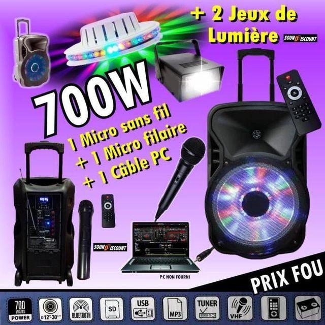 Ibiza Sound Fitness enceinte amplifiée 700w portable - usb mp3 - sd - bluetooth - tuner - 2 micros - 2 jeux de lumière pa dj sono sp