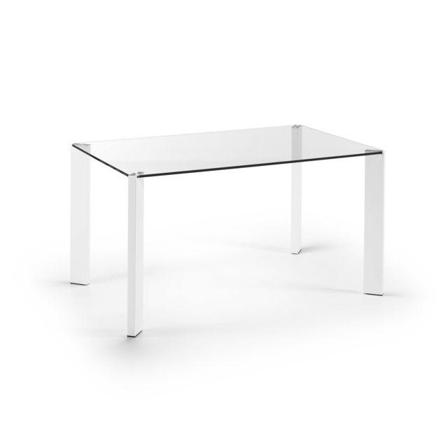 Kavehome Table Spot 140x90 cm, blanc et verre