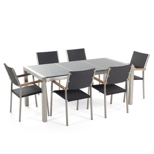 BELIANI - Table de jardin acier inox - plateau granit triple gris ...