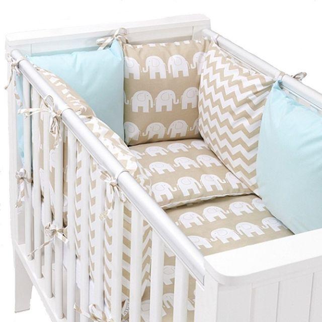 f96c0f27c18f0 Sevira Kids - Tour de lit à coussins modulables avec parure réversible -  Eléphants - Beige