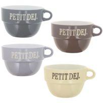 Promobo - Lot 4 Grands Bols Empilables Design Luxe Vintage Inscription Petit Déjeuner Chocolat Café