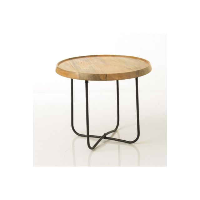 HELLIN Table basse ronde plateau bois