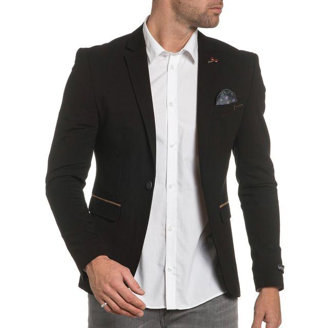 À Jeans City Homme Cher Pas De Costume Coudières Blz Noire Veste T0WXdqfq
