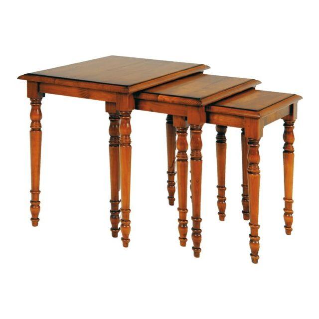 Tousmesmeubles Tables gigognes en Merisier - Johanne - L 51 x l 39 x H 50