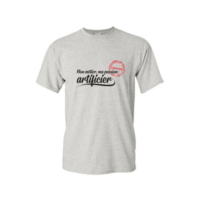 MYGOODPRICE T-shirt col rond métier passion artificier S Gris Ash