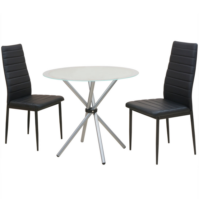 Vidaxl Ensemble De Table Et Chaise Salle A Manger 3 Pieces Blanc