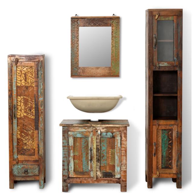 Set de meubles salle bains en bois massif recyclé avec miroir