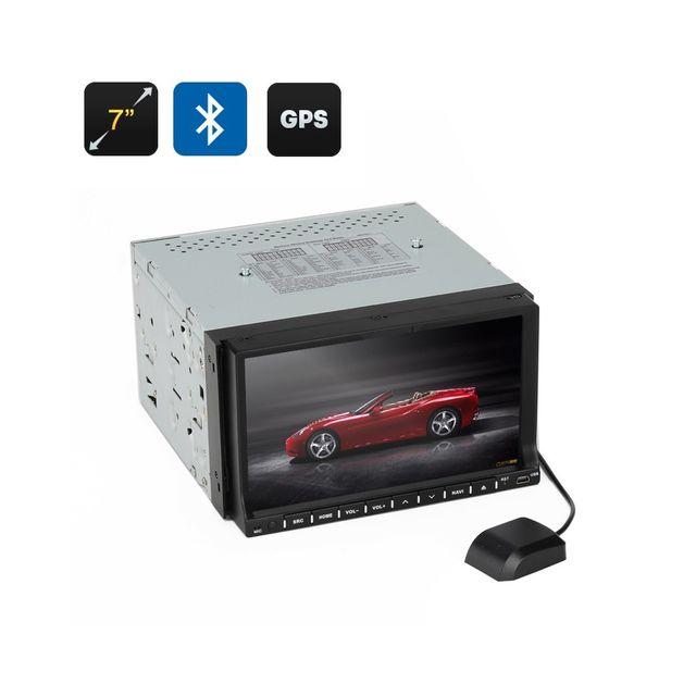 Auto-hightech Autoradio 2 din 7 pouces 2 Gps Win Ce, écran tactile inclinable a 90 degrés Bluetooth interface 3D