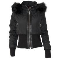 No Brand - Altrov Veste Tina doudoune hiver femme fourrure noir véritable ceinture cintré - Collection hiver 2017-doudoune, fourrure, veste, doudoune, cuir, femme