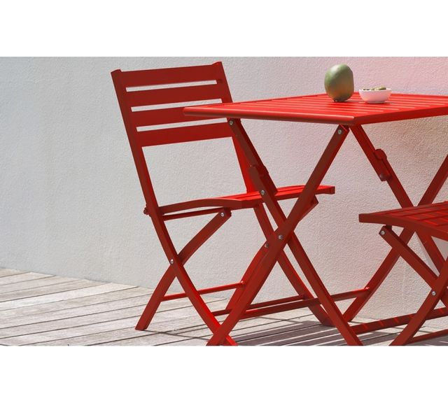 Dcb Garden Lot de 2 chaises pliantes en aluminium rouge carmin
