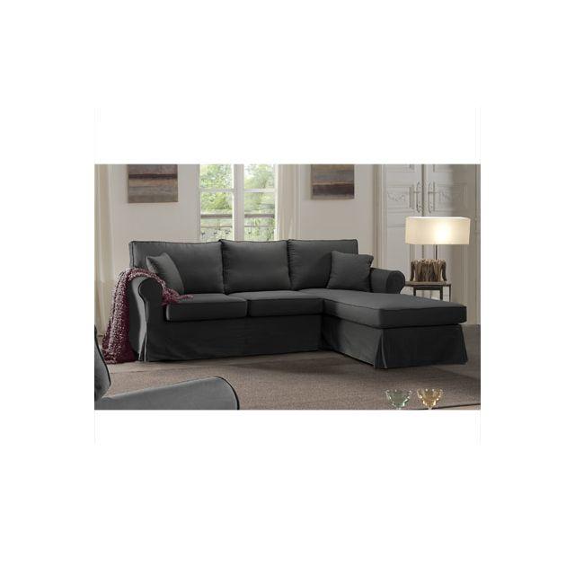 Canapé d'angle fixe droit gris Jaipur