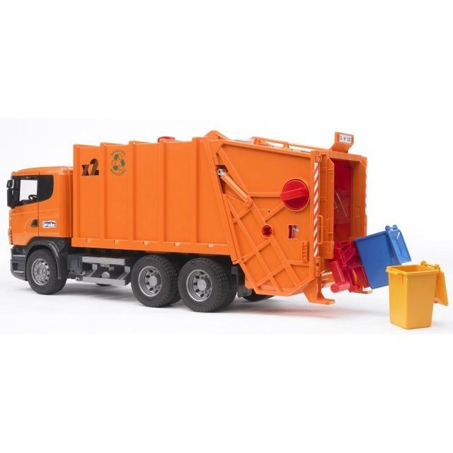 Bruder Camion Poubelle Scania R, orange Série Pro