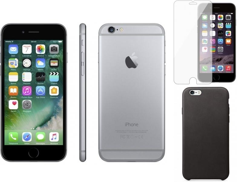 iPhone 6 - 32 Go - MQ3D2ZD/A - Gris sidéral + iPhone 6/6s California case Noir + Verre trempe iPhone 6/6s Transparent