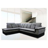 Chloe Design - Canapé d'angle Marion - microfibre - gris et noir - Angle gauche