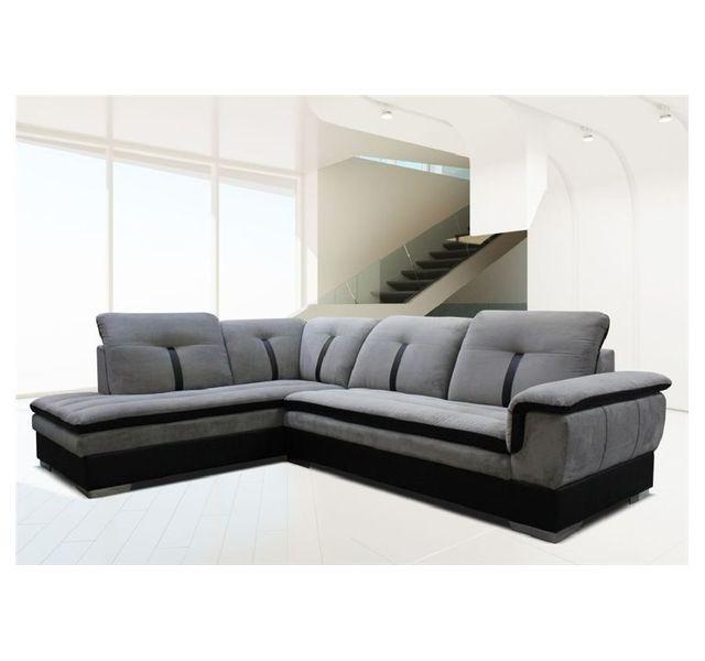 CHLOE DESIGN Canapé d'angle Marion - microfibre - gris et noir - Angle gauche